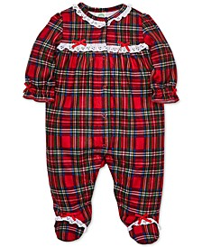 Baby Girls Plaid Footed Coverall