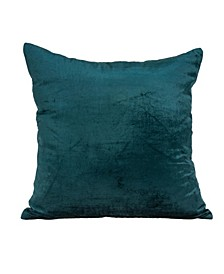 Bento Transitional Teal Solid Pillow Cover With Down Insert