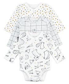 Baby Boy and Girl 3-Pack Long Sleeve Bodysuits