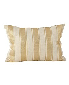 "Metallic Foiled Stripe Design Burlap Jute Throw Pillow, 14"" x 20"""