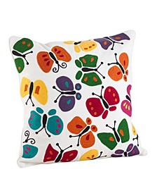 "Embroidered Butterfly Cotton Throw Pillow, 18"" x 18"""
