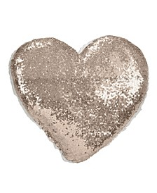 """Glittery Sequin with Sherpa Trim Polyester Filled Throw Pillow, 13"""" x 14"""""""