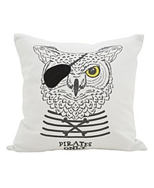 """Owl Patch Pirates Only Polyester Filled Throw Pillow, 16"""" x 16"""""""