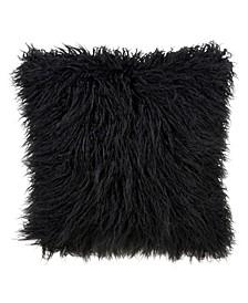 """Mongolian Faux Fur Throw Pillow, 18"""" x 18"""""""
