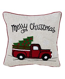 "Polyester Blend Christmas Pillow with retro Red Truck, 16"" x 16"""