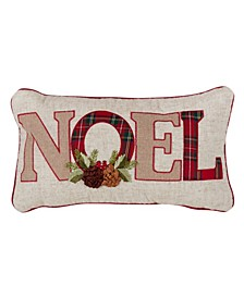 "Christmas Throw Pillow with Noel and Red Plaid Design, 12"" x 18"""