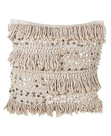 "Moroccan Cotton Throw Pillow with Sequin Moroccan Design, 18"" x 18"""