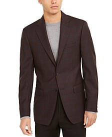 Men's Slim-Fit Burgundy Windowpane Plaid Sport Coat