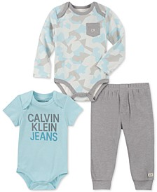 Baby Boys 3-Pc. Bodysuits & Jogger Pants Set