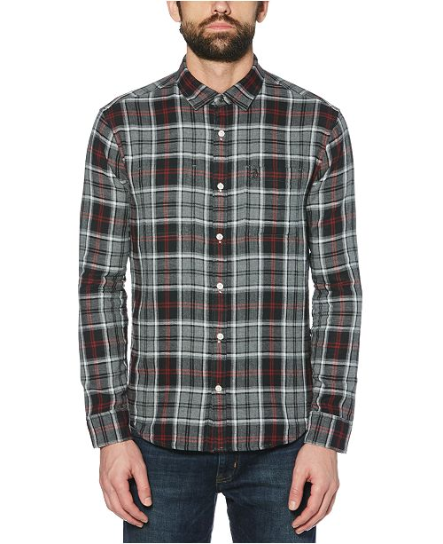 Original Penguin Men's Slim-Fit Reversible Plaid Shirt