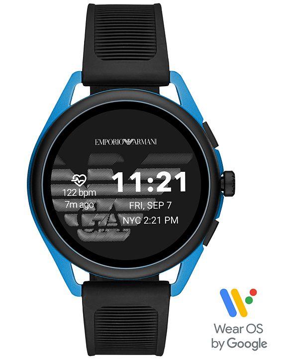 Emporio Armani Men's Black Silicone Strap Touchscreen Smart Watch 45mm