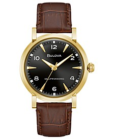 LIMITED EDITION Automatic American Clipper Brown Leather Strap Watch 39mm, Created for Macy's