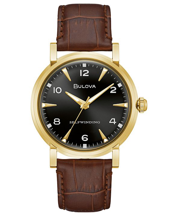 Bulova LIMITED EDITION Automatic American Clipper Brown Leather Strap Watch 39mm, Created for Macy's