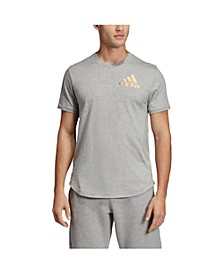 Men's Regular Fit Metallic Badge of Sport Workout T-Shirt