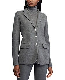 Petite Sweater-Knit Cotton Blazer