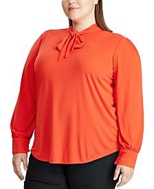 Lauren Ralph Lauren Plus Size Neck-Tie Jersey Top