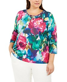 Plus Size Bright Idea Printed Top