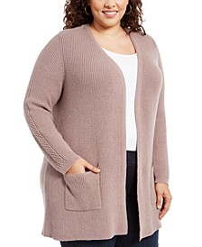 Plus Size Mixed-Stitch Cardigan