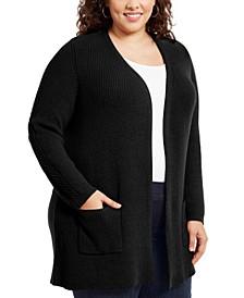 Plus Size Mixed-Stitch Cardigan