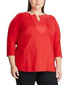 Plus Size Split-Neck Tunic Top