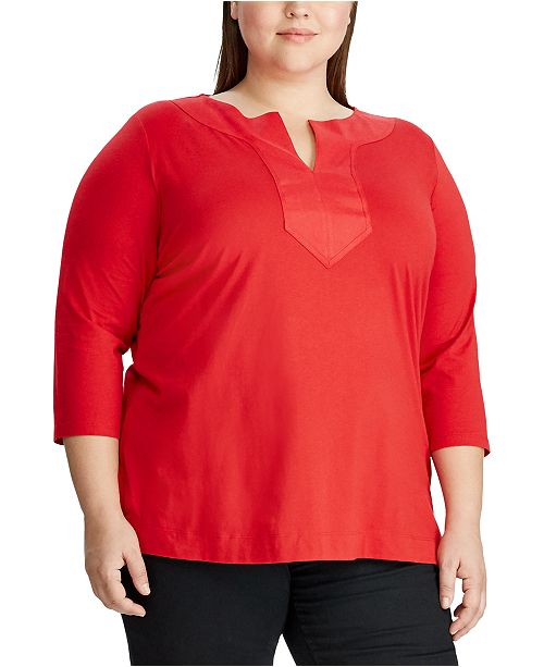 Lauren Ralph Lauren Plus Size Split-Neck Tunic Top