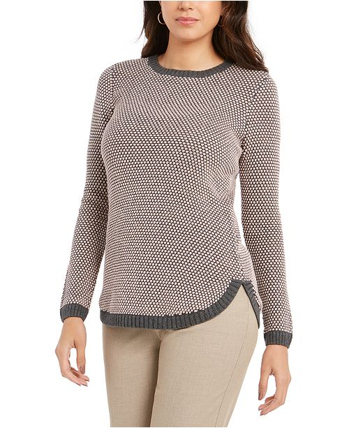Charter Club Textured Contrast-Trim Sweater, Created For Macy's