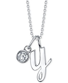 """Initial & Cubic Zirconia Charm Pendant Necklace in Fine Silver-Plate, 16"""" + 2"""" extender"""