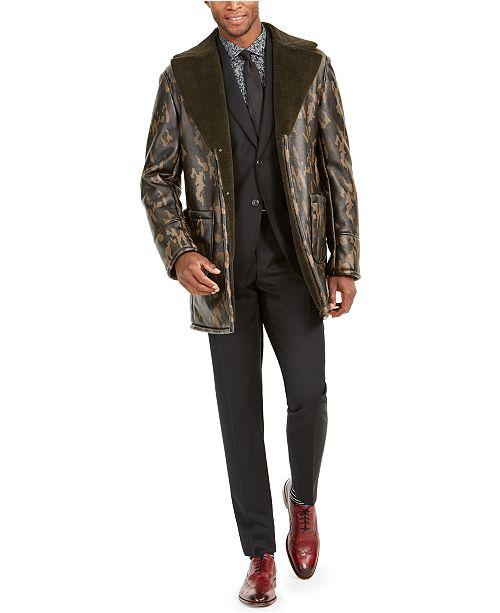 Tallia Men's Faux-Fur Camouflage Overcoat