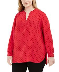 Anne Klein Plus Size Ginza Dot-Print Blouse