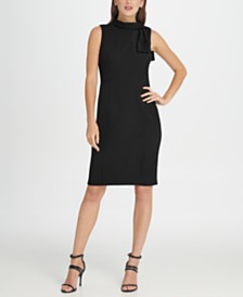 DKNY Tie Neck Sheath Dress