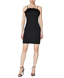 Faux-Feather-Trim Sheath Dress