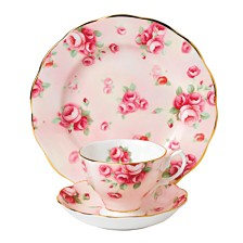 Royal Albert 100 Years 1980 3-Piece Set Teacup, Saucer & Plate Rose Blush