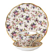 Royal Albert 100 Years 1940 3-Piece Set, Teacup Saucer & Plate -English Chintz