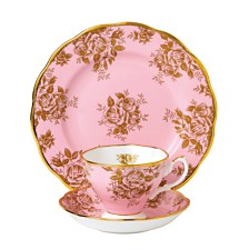 Royal Albert 100 Years 1960 3-Piece Set, Teacup Saucer & Plate -Golden Rose