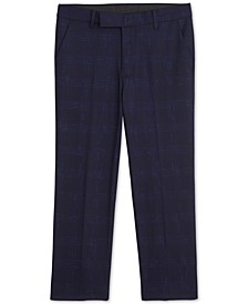 Big Boys Stretch Sporadic Windowpane Plaid Suit Pants