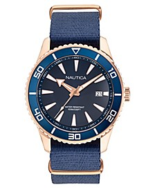 Men's Pacific Beach Navy, Rose Gold Fabric Strap Watch 44mm