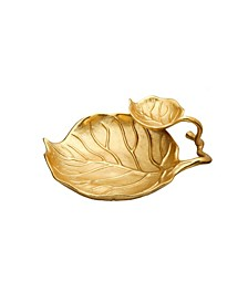 2 Tier Gold Relish Dish with Leaf Vein Design