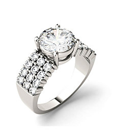 Moissanite Three Row Engagement Ring 2-9/10 ct. t.w. Diamond Equivalent in 14k White Gold