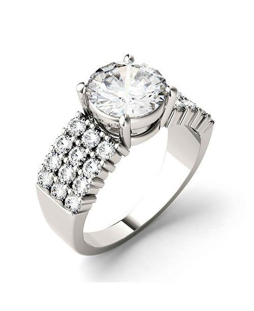 Charles & Colvard Moissanite Three Row Engagement Ring 2-9/10 ct. t.w. Diamond Equivalent in 14k White Gold