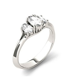 Moissanite Oval Three Stone Ring 1 ct. t.w. Diamond Equivalent in 14k White Gold