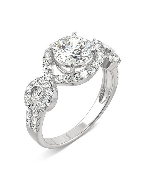 Charles & Colvard Moissanite Halo Ring 1-3/4 ct. t.w. Diamond Equivalent in 14k White Gold