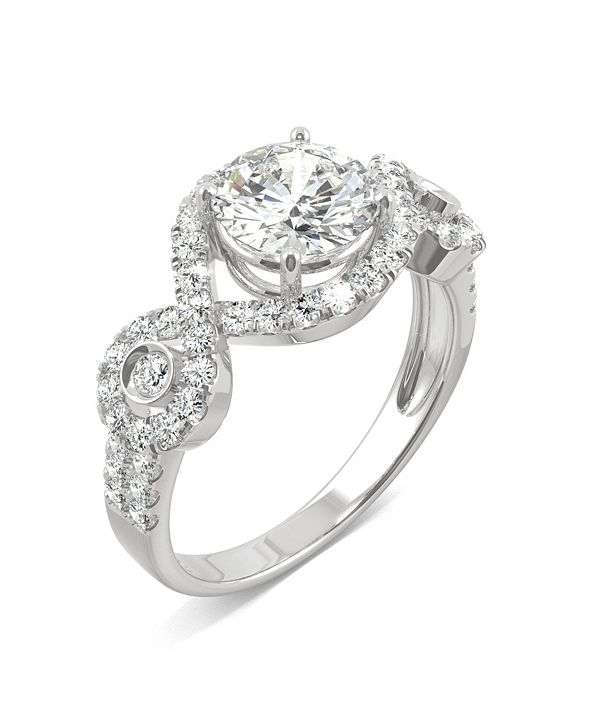 Charles & Colvard Moissanite Halo Ring 1-3/4 ct. t.w. Diamond Equivalent in 14k White Gold