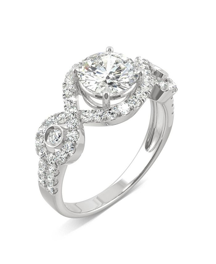 Charles & Colvard - Moissanite Halo Ring 1-3/4 ct. t.w. Diamond Equivalent in 14k White Gold