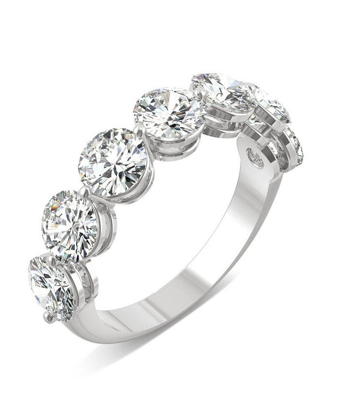Charles & Colvard - Moissanite Seven Stone Band 3-1/2 ct. t.w. Diamond Equivalent in 14k White Gold