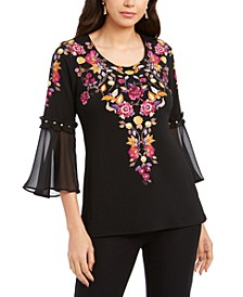 Petite Bell-Sleeve Top, Created for Macy's
