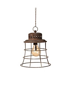 Antique-styled Brown Metal Hanging Battery Operated Lantern