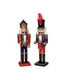 Traditional Nutcrackers in Red and Blue Outfits - Set of 2