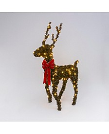 5' Electric Brown PVC Reindeer w/ 15 Warm White LED Lights & Red Velvet Bow