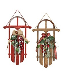 Traditional Wooden Holiday Sleigh Wall Hangings - Set of 2