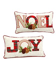"""""""NOEL"""" and """"JOY"""" Gray and Red Holiday Throw Pillows  - Set of 2"""